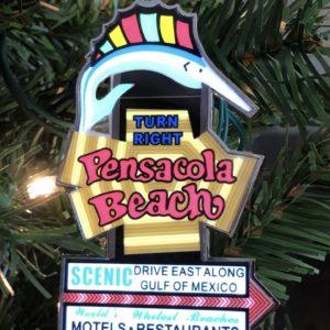 Animated Pensacola Beach Sign Ornament