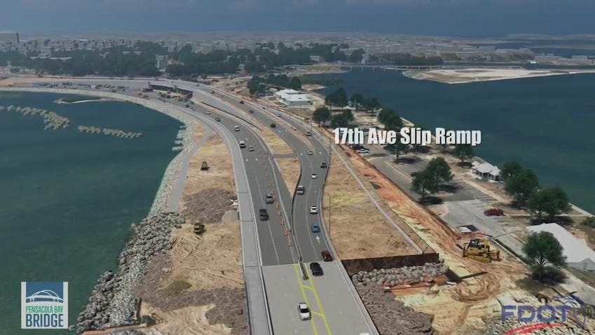See the new Pensacola Bay Bridge and 17th Avenue configuration