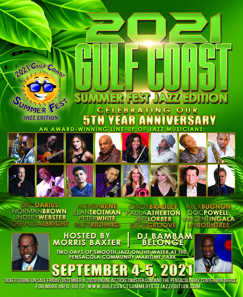 Sept 3-5: Gulf Coast Summer Fest Jazz Edition In Pensacola Hosted By Morris Baxter