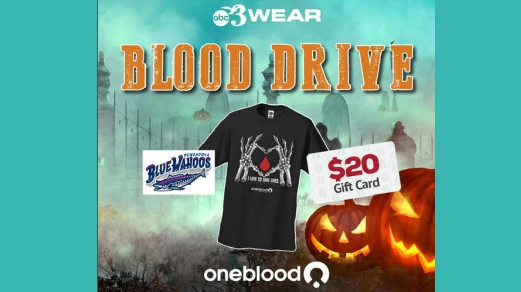 WEAR and Oneblood hosting Halloween blood drive at Blue Wahoos Stadium